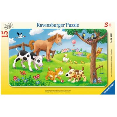 Ravensburger-06066 Puzzle Cadre - Affectueux Animaux