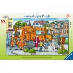 Ravensburger-06162 Puzzle Cadre - En Route avec la Collecte des Ordures