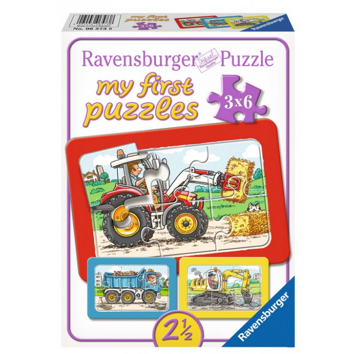 3 Puzzles - My First Puzzle - Tracteur, Pelleteuse, Camion Benne