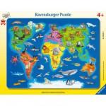 Ravensburger-06641 Puzzle cadre - Les animaux dans le monde