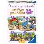 Ravensburger-06946 4 Puzzles - My first Puzzles - Mes Véhicules de Construction Préférés
