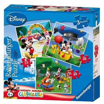 Ravensburger-07088 3 Puzzles - Mickey et ses amis
