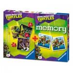 Ravensburger-07287 3 Puzzles Tortues Ninja + Memory