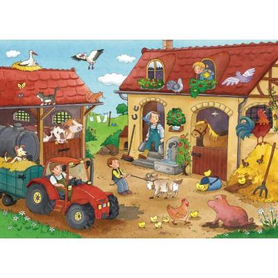 Ravensburger-07560 2 Puzzles - Métiers de la Ferme