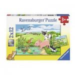 Ravensburger-07582 2 Puzzles - Animaux de la Ferme