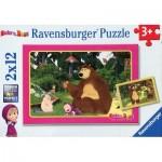 Ravensburger-07585 2 Puzzles - Masha and The Bear