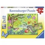 Ravensburger-07610 2 Puzzles - Les Animaux de notre Jardin