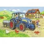 Ravensburger-07616 2 Puzzles - Tracteur à la Ferme