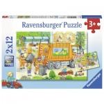 Ravensburger-07617 2 Puzzles - Camion Poubelle