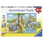 Ravensburger-07806 2 Puzzles - Au Zoo