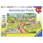 Ravensburger-07813 2 Puzzles - Un Jour au Zoo