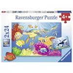 Ravensburger-07815 2 Puzzles - Monde Sous-marin Coloré