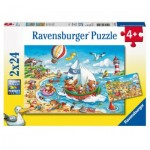 Ravensburger-07829 2 Puzzles - Vacances à la Mer