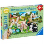 Ravensburger-07830 2 Puzzles - Animaux de la Ferme