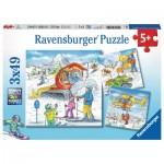 Ravensburger-08052 3 Puzzles - Sur les Pistes de Ski