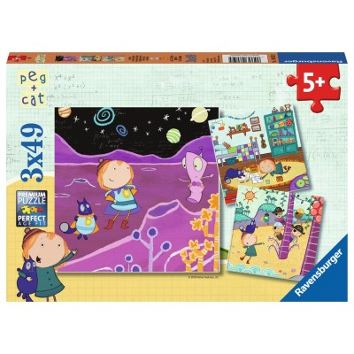 Ravensburger-08059 3 Puzzles - Peg + Cat
