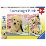 Ravensburger-08065 3 Puzzles - Chiots