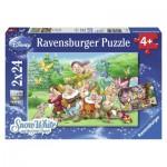 Ravensburger-08859 2 Puzzles - Blanche Neige et les 7 Nains