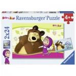 Ravensburger-09046 2 Puzzles - Masha and the Bear