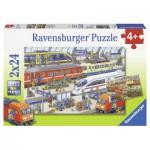 Ravensburger-09191 2 Puzzles - Agitation à la Gare