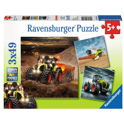 Ravensburger-09301 3 Puzzles - Tracteurs CLAAS: Axion, Lexion, Xerion