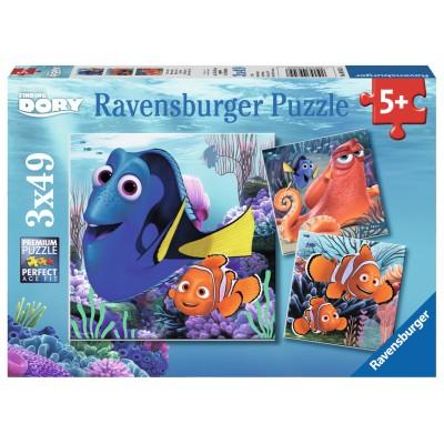 Ravensburger-09345 3 Puzzles - Dory