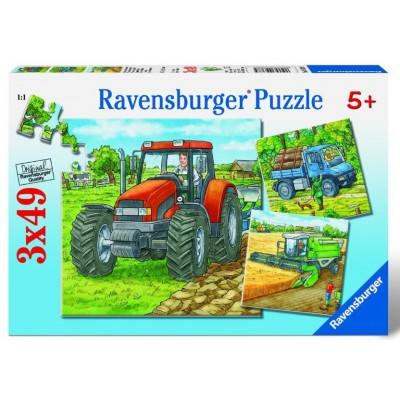 Ravensburger-09388 3 Puzzles - Machines agricoles
