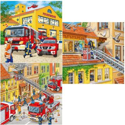 Ravensburger-09401 3 Puzzles - Les pompiers au travail