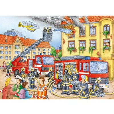Puzzle Ravensburger-10822 Au feu les pompiers !