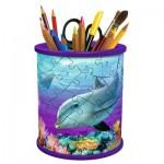 Ravensburger-12116 Puzzle 3D - Pot à Crayons - Monde Sous-marin