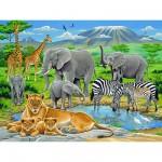Puzzle  Ravensburger-12736 Animaux d'Afrique et Kilimanjaro