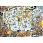 Puzzle  Ravensburger-12802 Carte du Monde des Pirates