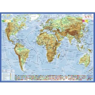 Puzzle Ravensburger-13097 Carte du Monde, en Allemand
