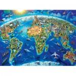 Puzzle  Ravensburger-13227 Pièces XXL - Carte des Monuments du Monde