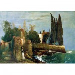 Puzzle  Ravensburger-14022 Arnold Böcklin : Ruines au Bord de la Mer