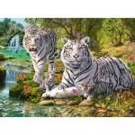 Puzzle  Ravensburger-14793 Famille de Tigres Blancs