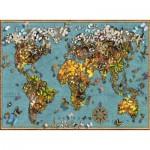 Puzzle  Ravensburger-15043 Mappemonde de Papillons