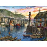 Puzzle  Ravensburger-15045 Lever du Soleil au Port