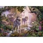 Puzzle  Ravensburger-15185 Famille de Loup en Ete