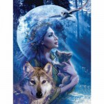 Puzzle  Ravensburger-15414 Entre femme et loup