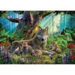Puzzle  Ravensburger-15987 Famille de Loups dans la Forêt