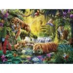 Puzzle  Ravensburger-16005 Tigres au Plan d'Eau