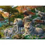 Puzzle  Ravensburger-16598 Wolves in the Spring
