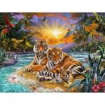 Puzzle  Ravensburger-16624 Famille de Tigres au Coucher du Soleil