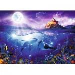Puzzle  Ravensburger-19791 Baleines au Clair de Lune