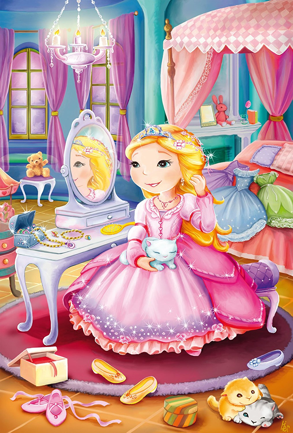 3 puzzles princesses schmidt spiele 56217 24 pi ces puzzles princes et princesses. Black Bedroom Furniture Sets. Home Design Ideas