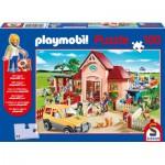 Schmidt-Spiele-56091 Playmobil : Puzzle Le Zoo et le Taxi, avec une figurine
