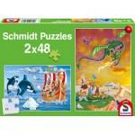 Schmidt-Spiele-56153 2 Puzzles - Viking