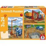 Schmidt-Spiele-56200 3 Puzzles - Sur le Chantier