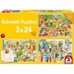 Schmidt-Spiele-56201 3 Puzzles - Journée des Enfants